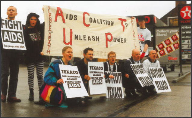 image of Manchester ACT UP boycott action against Texaco's discriminatory HIV policies, 1991