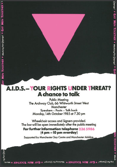 image of a flyer promoting a meeting about HIV in Manchester, 1985