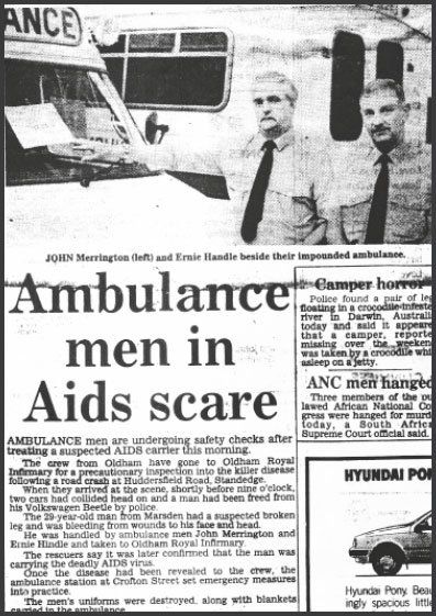 image of a Manchester Evening News report about an ambulance that was decommissioned after transporting a man living with HIV to Oldham Royal Infirmary, 9th September 1986