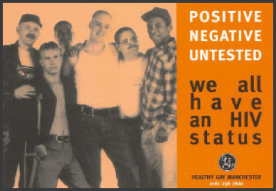 image of a Healthy Gay Manchester postcard, circa 1995