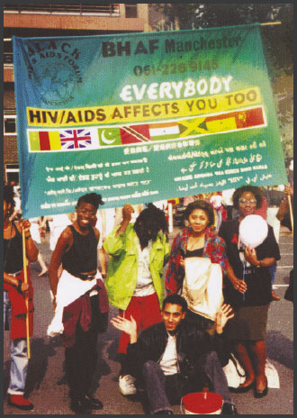 image of black HIV/AIDS Forum activists at Manchester Mardi Gras, circa 1994