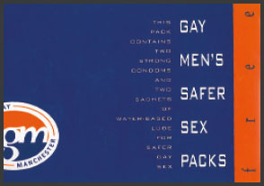 image of a Health Gay Manchester safer sex pack, circa 1996
